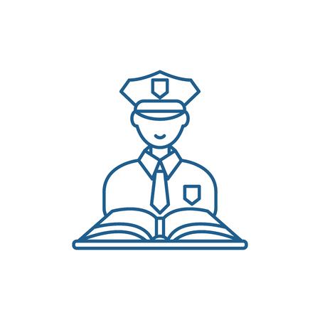 Icono de concepto de línea de derecho penal. Sitio web de vector plano de derecho penal signo, símbolo de contorno, Ilustración. Ilustración de vector