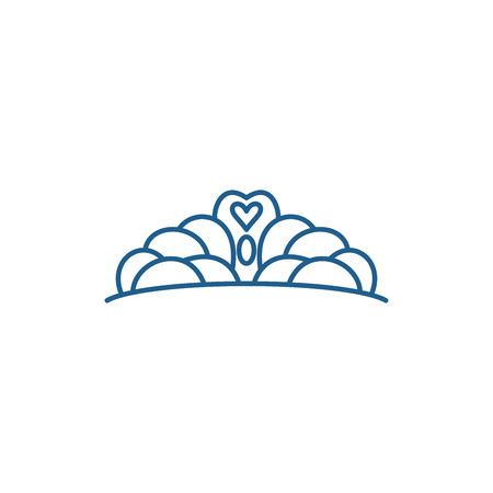 Crown line concept icon. Crown flat  vector website sign, outline symbol, illustration.