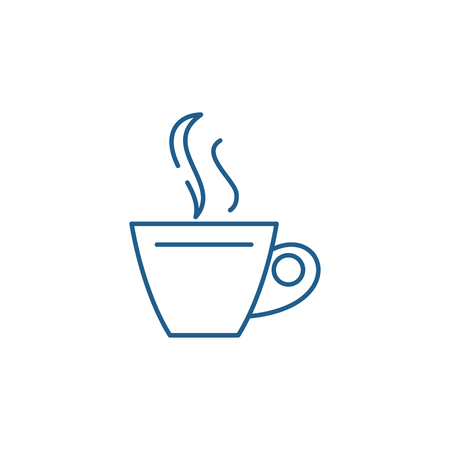 Cup of tea line concept icon. Cup of tea flat  vector website sign, outline symbol, illustration.