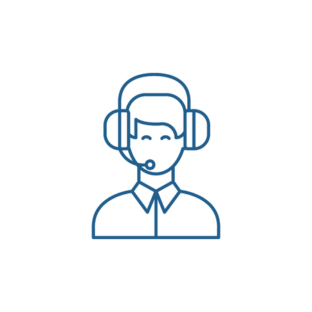 Customer support line concept icon. Customer support flat  vector website sign, outline symbol, illustration. 일러스트
