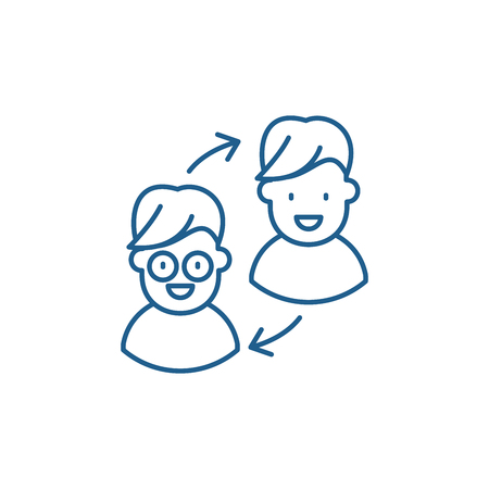 Customer transformation line concept icon. Customer transformation flat  vector website sign, outline symbol, illustration.