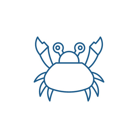 Cute crab line concept icon. Cute crab flat  vector website sign, outline symbol, illustration.
