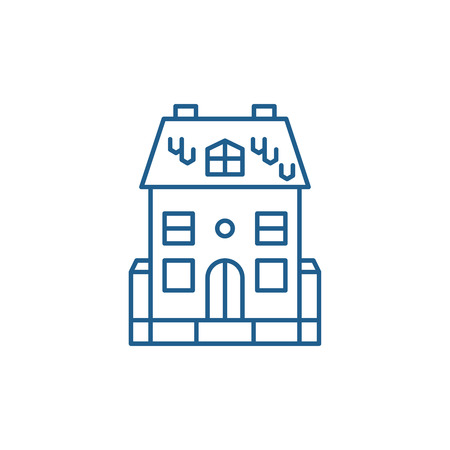 Cute family house line concept icon. Cute family house flat  vector website sign, outline symbol, illustration.