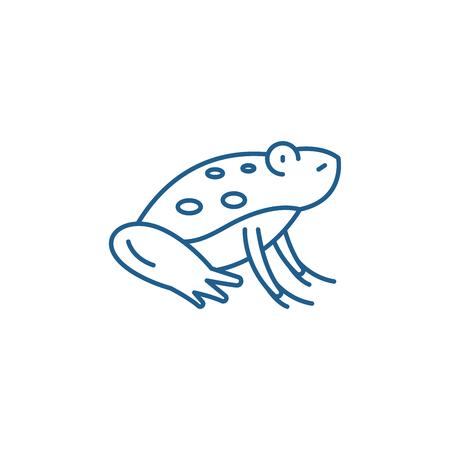 Cute frog line concept icon. Cute frog flat  vector website sign, outline symbol, illustration. Banque d'images - 119916073