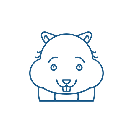 Cute hamster line concept icon. Cute hamster flat  vector website sign, outline symbol, illustration. Stock Vector - 119916074