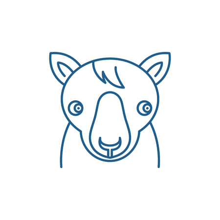Cute horse line concept icon. Cute horse flat  vector website sign, outline symbol, illustration.