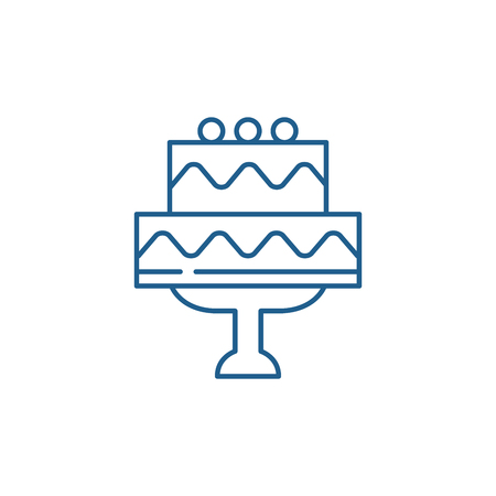 Cute wedding cake line concept icon. Cute wedding cake flat  vector website sign, outline symbol, illustration.