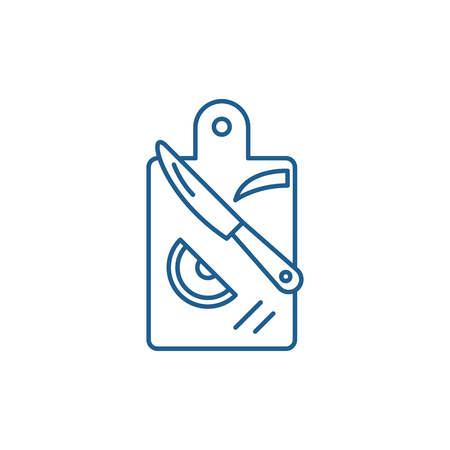 Cutting products line concept icon. Cutting products flat  vector website sign, outline symbol, illustration.