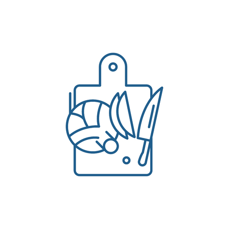 Cutting vegetables line concept icon. Cutting vegetables flat  vector website sign, outline symbol, illustration.  イラスト・ベクター素材