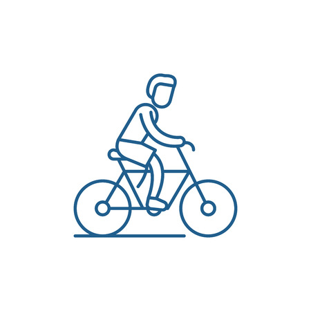 Cycling trip line concept icon. Cycling trip flat  vector website sign, outline symbol, illustration.