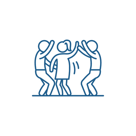 Dance party line concept icon. Dance party flat  vector website sign, outline symbol, illustration.  イラスト・ベクター素材