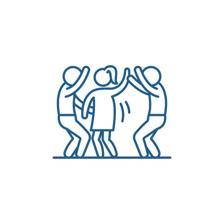 Dance party line concept icon. Dance party flat  vector website sign, outline symbol, illustration. Illustration