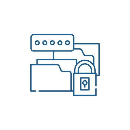 Data encryption line concept icon. Data encryption flat  vector website sign, outline symbol, illustration.