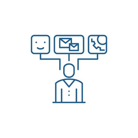 Data visualization line concept icon. Data visualization flat  vector website sign, outline symbol, illustration.