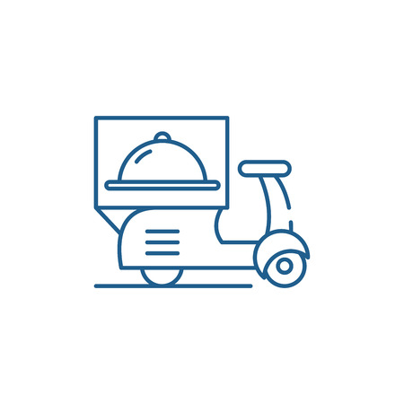 Delivery from restaurants line concept icon. Delivery from restaurants flat  vector website sign, outline symbol, illustration.