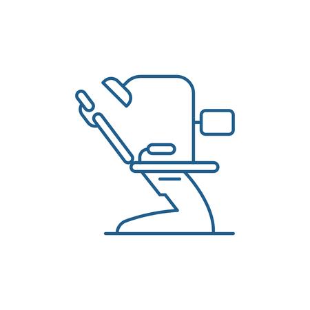 Icono de concepto de línea de consultorio dental. Oficina dental sitio web vector plano signo, símbolo de contorno, Ilustración. Ilustración de vector