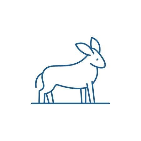 Donkey line concept icon. Donkey flat  vector website sign, outline symbol, illustration.