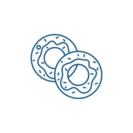 Donuts line concept icon. Donuts flat  vector website sign, outline symbol, illustration. Illustration