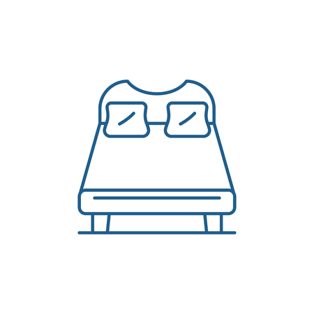 Double bed line concept icon. Double bed flat  vector website sign, outline symbol, illustration. Foto de archivo - 119916018