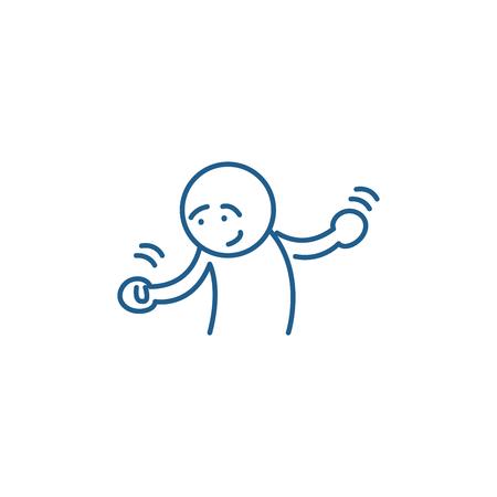 Doubts line concept icon. Doubts flat  vector website sign, outline symbol, illustration. Illustration