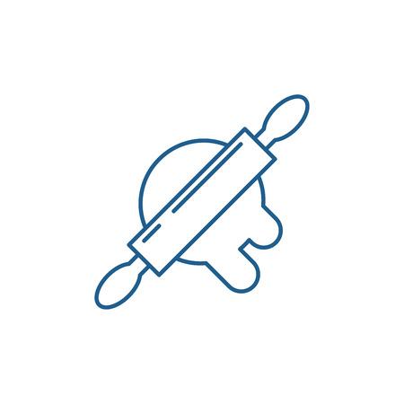 Dough preparation line concept icon. Dough preparation flat  vector website sign, outline symbol, illustration.