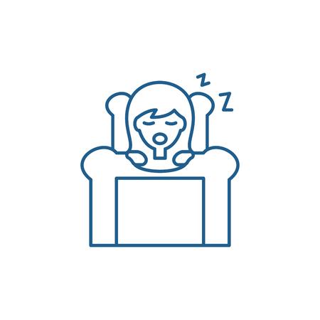 Deep sleep line concept icon. Deep sleep flat  vector website sign, outline symbol, illustration.