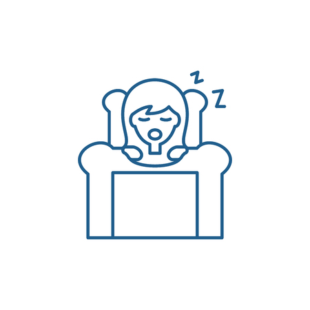Deep sleep line concept icon. Deep sleep flat  vector website sign, outline symbol, illustration.