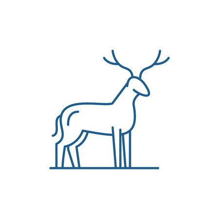 Deer line concept icon. Deer flat  vector website sign, outline symbol, illustration. Stock Illustratie