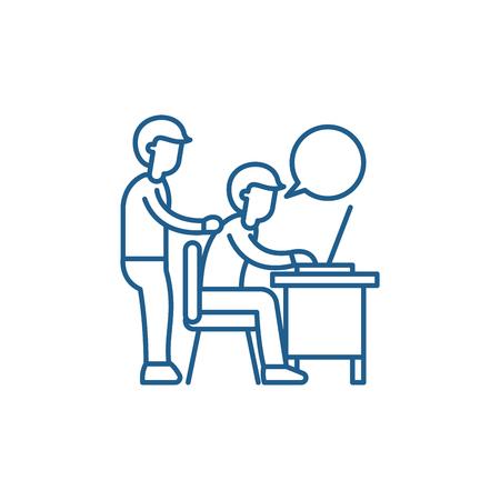 Delegation of work line concept icon. Delegation of work flat  vector website sign, outline symbol, illustration.