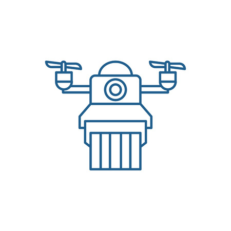 Delivery by drones line concept icon. Delivery by drones flat  vector website sign, outline symbol, illustration.