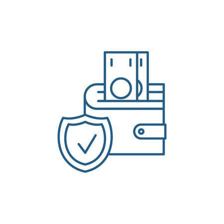 Deposit insurance line concept icon. Deposit insurance flat  vector website sign, outline symbol, illustration.