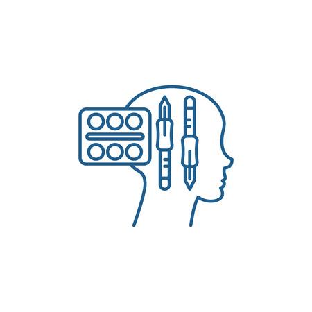 Design thinking line concept icon. Design thinking flat  vector website sign, outline symbol, illustration. Ilustracja
