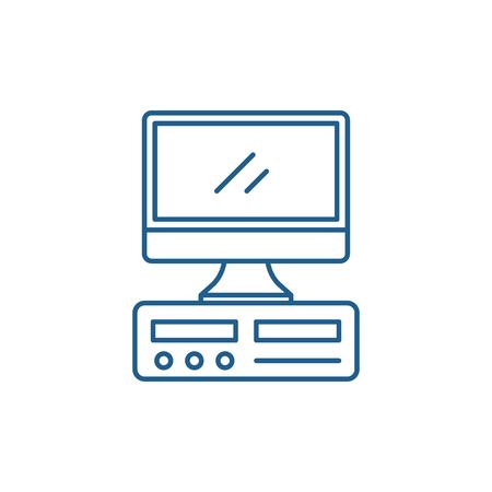 Desktop computer line concept icon. Desktop computer flat  vector website sign, outline symbol, illustration. Illustration