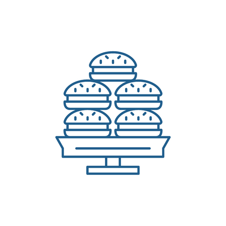 Dessert line concept icon. Dessert flat  vector website sign, outline symbol, illustration. Foto de archivo - 119915869