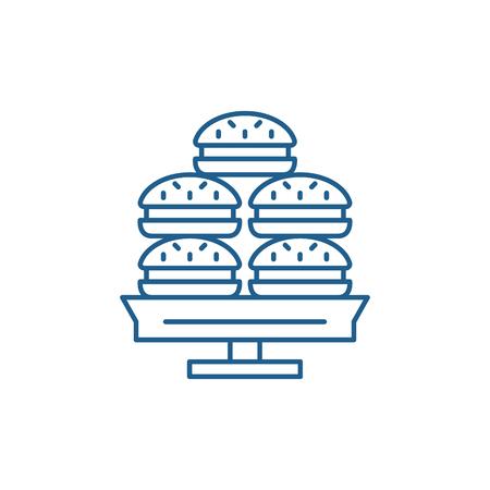 Dessert line concept icon. Dessert flat  vector website sign, outline symbol, illustration.