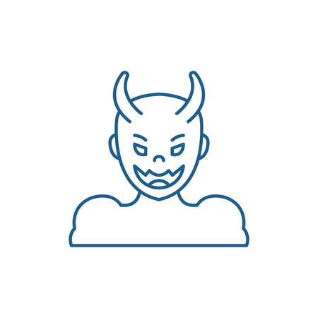 Devil line concept icon. Devil flat  vector website sign, outline symbol, illustration.