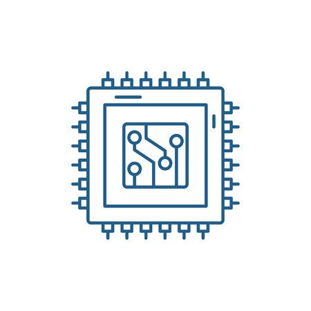 Digital production line concept icon. Digital production flat  vector website sign, outline symbol, illustration.