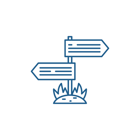 Directions of the road line concept icon. Directions of the road flat  vector website sign, outline symbol, illustration. 일러스트