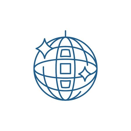 Disco ball line concept icon. Disco ball flat  vector website sign, outline symbol, illustration.