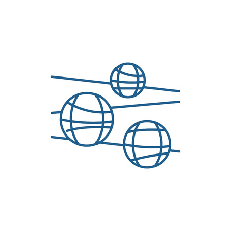 Disco balls line concept icon. Disco balls flat  vector website sign, outline symbol, illustration.