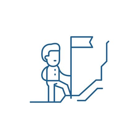 Discoverer line concept icon. Discoverer flat vector website sign, outline symbol, illustration.