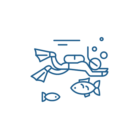 Diving line concept icon. Diving flat vector website sign, outline symbol, illustration.