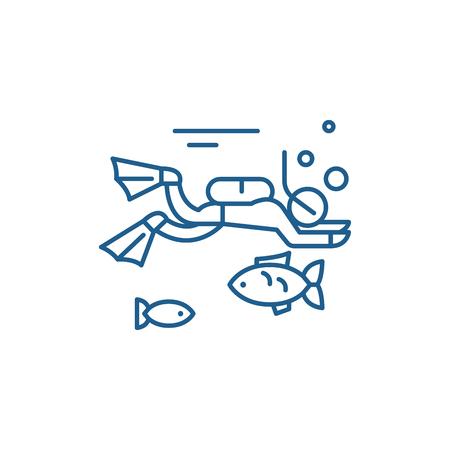 Symbol für das Konzept der Tauchlinie. Tauchen flaches Vektor-Website-Zeichen, Umrisssymbol, Illustration. Vektorgrafik
