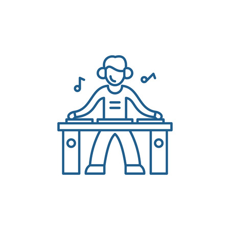 Dj line concept icon. Dj flat  vector website sign, outline symbol, illustration.