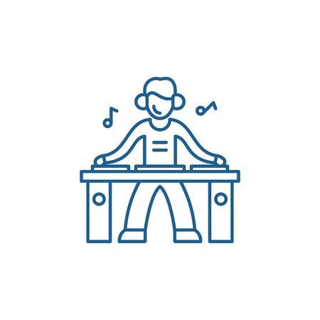 Dj line concept icon. Dj flat  vector website sign, outline symbol, illustration.