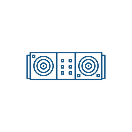 Dj desk line concept icon. Dj desk flat  vector website sign, outline symbol, illustration.