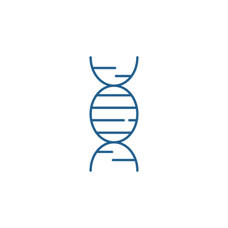 Dna line concept icon. Dna flat  vector website sign, outline symbol, illustration.