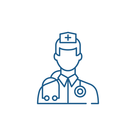 Doctor line concept icon. Doctor flat  vector website sign, outline symbol, illustration. Vectores