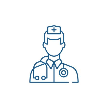 Doctor line concept icon. Doctor flat  vector website sign, outline symbol, illustration. Illustration