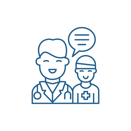 Doctors help to the patient line concept icon. Doctors help to the patient flat  vector website sign, outline symbol, illustration.